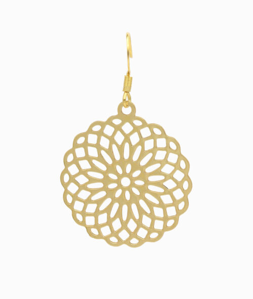 Haengeohrring gold mit Blumenornament