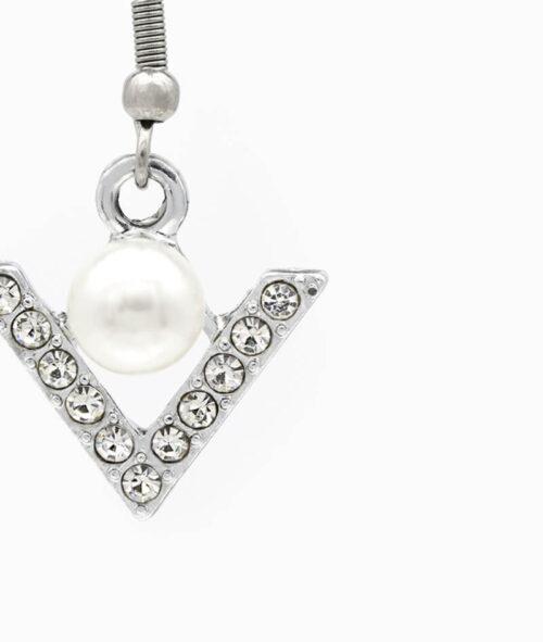 ViLou Schmuck Haengeohrring Ohrring silber Edelstahl V Perle Geschenkidee