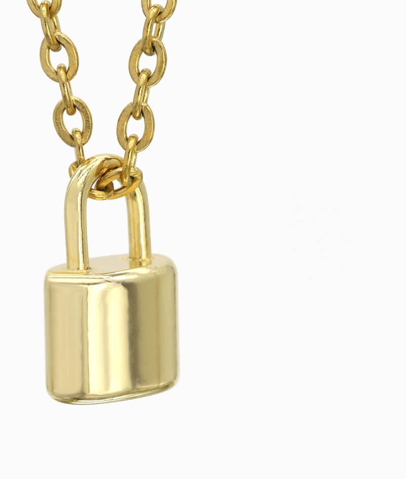 Schmuck ViLou Kette mit Schloss geschlossen gold ViLou nah