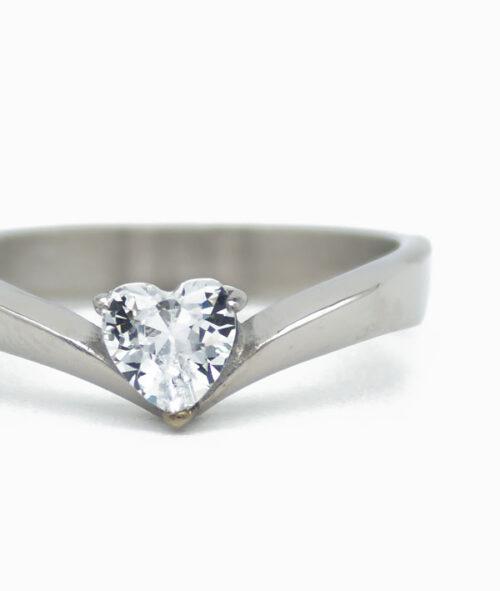 ViLou Ring in Silber mit Herz Nahaufnahme