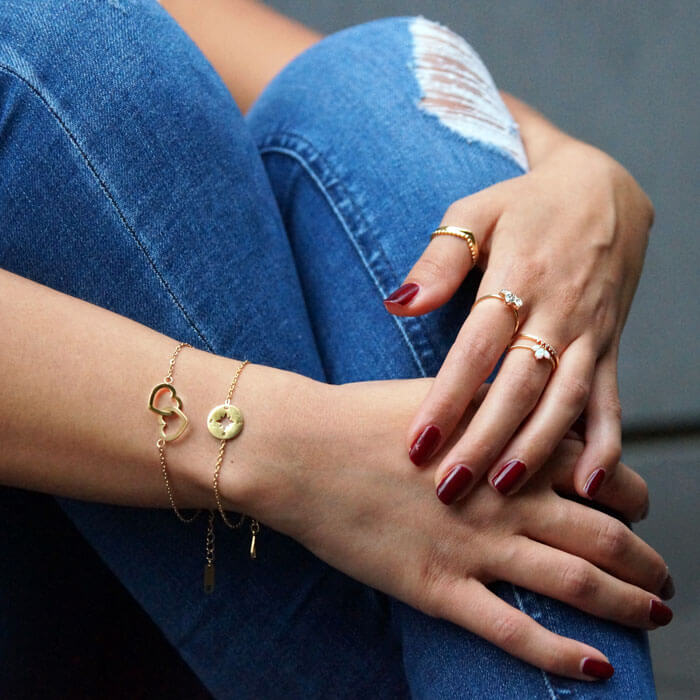Armband ViLou Schmuck Ring Statement Opal verstellbar Armband gold Zikonia