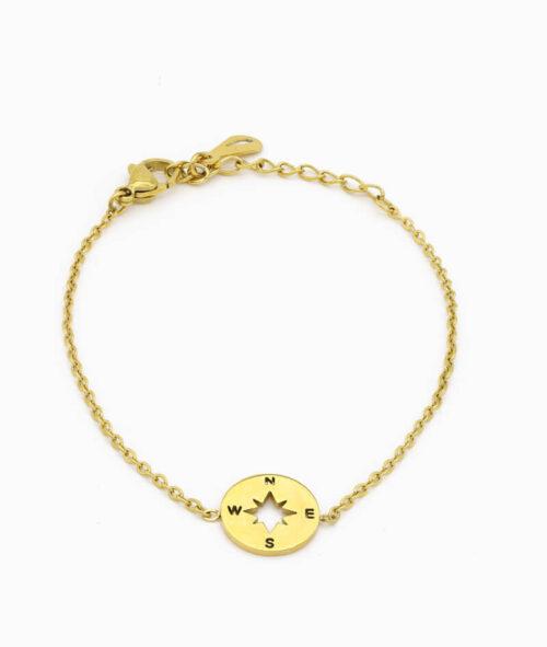 Goldenes Armkettchen mit Kompass Charm ViLou