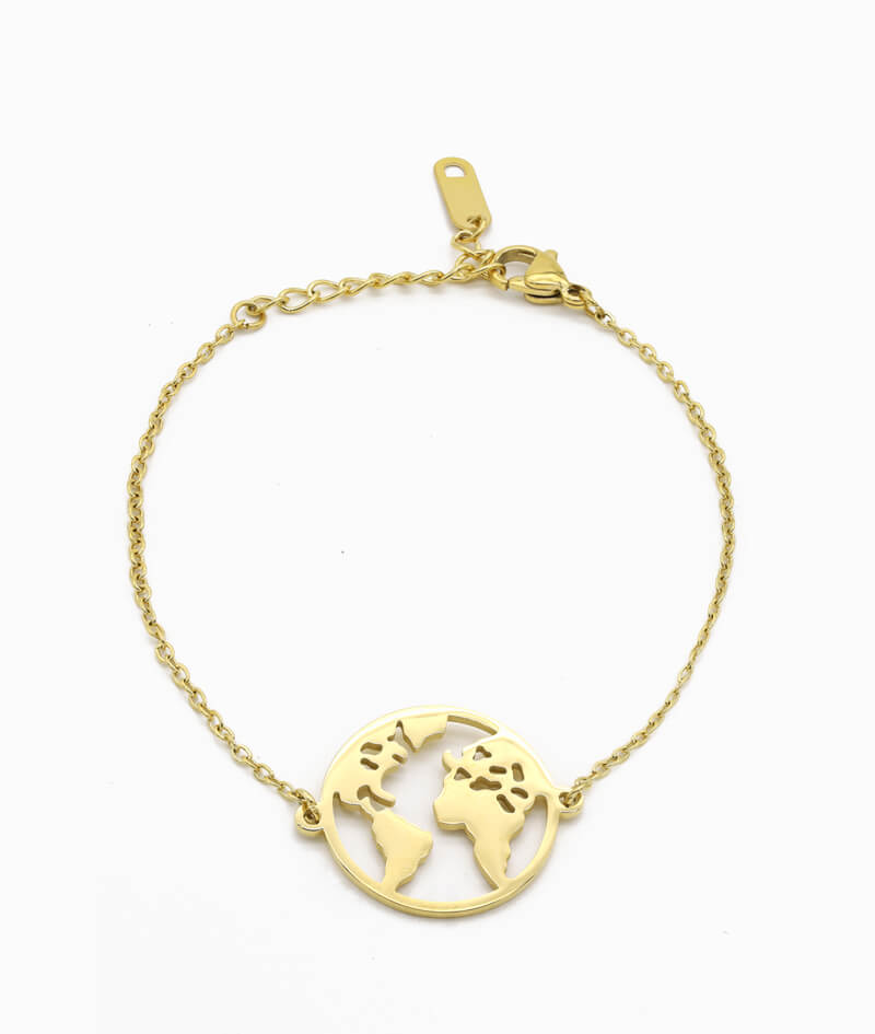 Goldenes Armkettchen mit Weltkugel Charm ViLou
