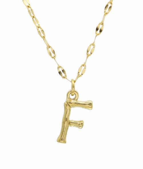Buchstaben Kette ViLou Schmuck Geschenkidee Jewelry vergoldet.jpg F