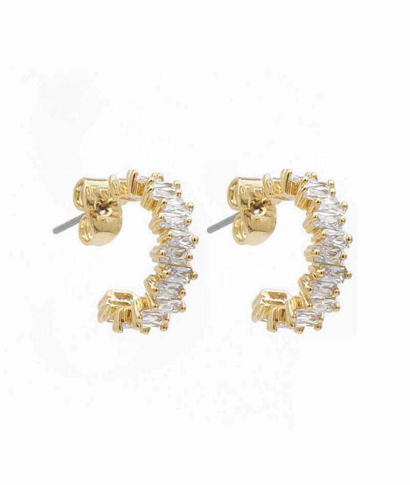 Ohrring creolen mit zirkonia steinen in gold und silber