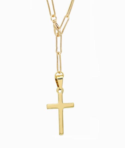 Y-Kette Gold mit Kreuz Anhäger ViLou
