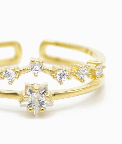 Ring in gold mit Sternzeichen Nahaufnahme
