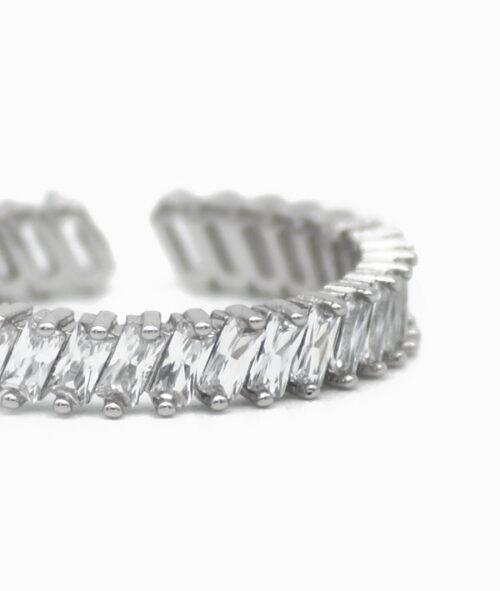 ViLou Ring Silber Zirkonia Steine Manschettenring silber und gold