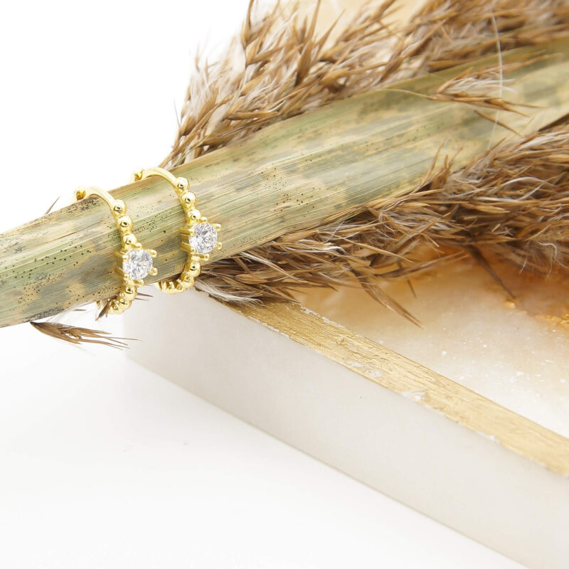 ViLou Kreolen sterling silver gold silber zirkonia dots single stone schmuck qeschenkidee