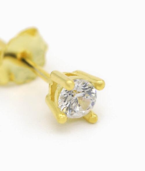 ViLou Schmuck Ohrstecker Ohrring gold 925er Sterling Silver Zirkonia Stein