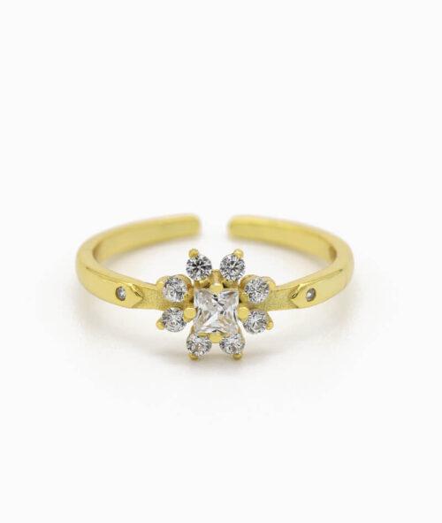 ViLou Schmuck Ring 925er Sterling Silver Flores Zirkonia Steine Geschenkidee gold nah