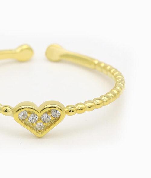 ViLou Schmuck Ring 925er Sterling Silver Paris Heart Zirkonia Steine Geschenkidee gold