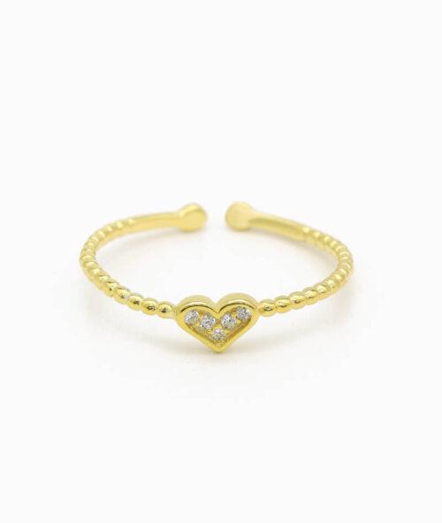 ViLou Schmuck Ring 925er Sterling Silver Paris Heart Zirkonia Steine Geschenkidee gold nah