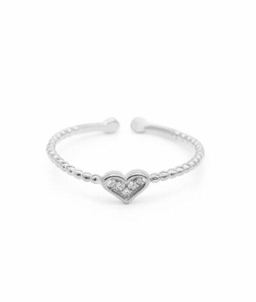 ViLou Schmuck Ring 925er Sterling Silver Paris Heart Zirkonia Steine Geschenkidee silber