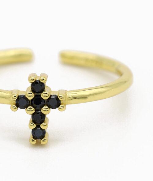 ViLou Schmuck Ring 925er Sterling Silver Rio Cross Zirkonia Steine Geschenkidee gold nah