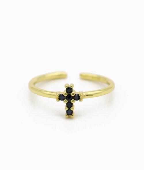 ViLou Schmuck Ring 925er Sterling Silver Rio Cross schwarz Zirkonia Steine Geschenkidee gold nah