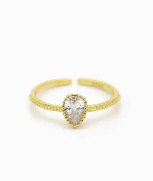 ViLou Schmuck Ring 925er Sterling Silver Venedig Waterdrop Zirkonia Steine Geschenkidee gold