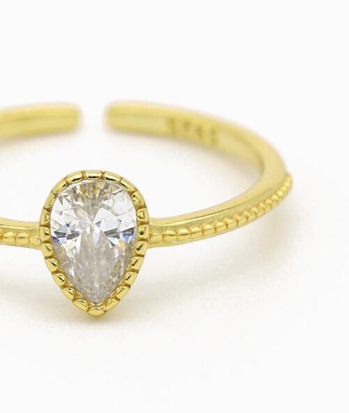 ViLou Schmuck Ring 925er Sterling Silver Venedig Waterdrop Zirkonia Steine Geschenkidee gold nah