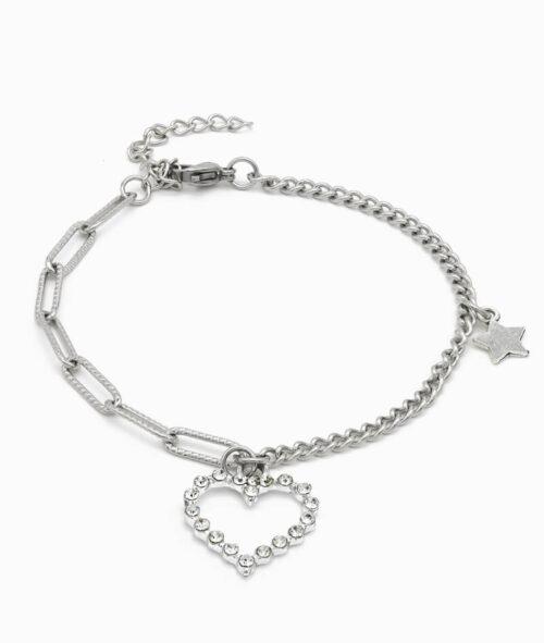 Armband silber mit Herz Charm und Stern ViLou