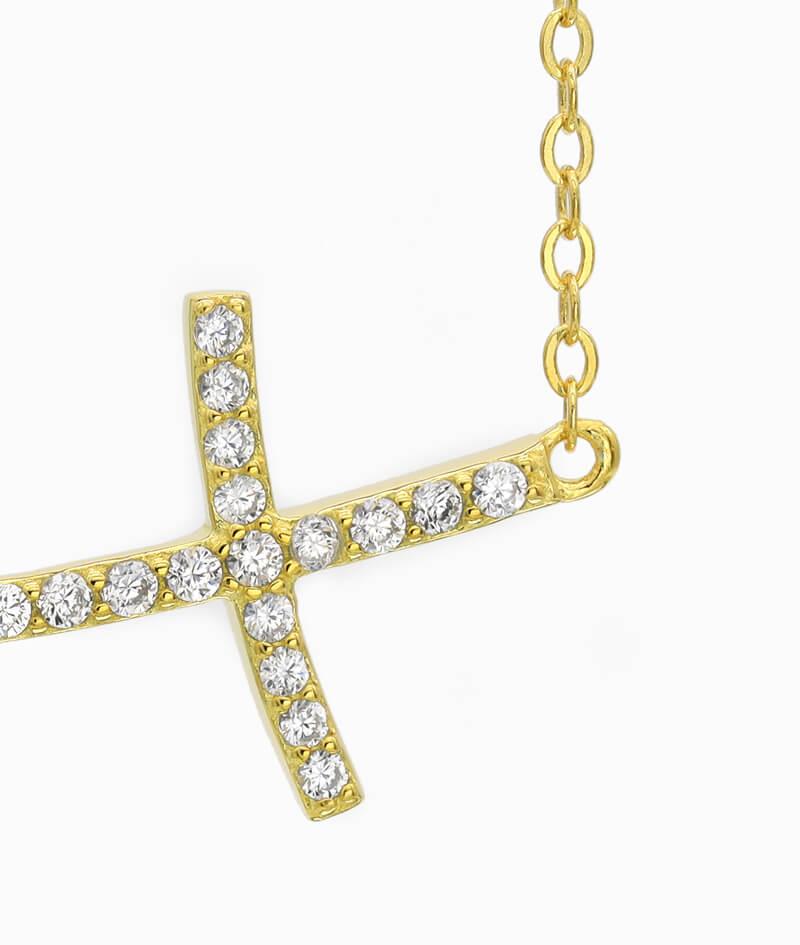 ViLou Schmuck Sterling Silver Kette Kreuz Cross Geschenkidee Freundin Jahrestag gold