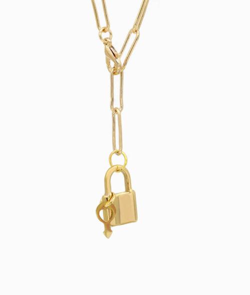 Y-Kette Gold mit Schloss und Schlüssel Anhäger ViLou