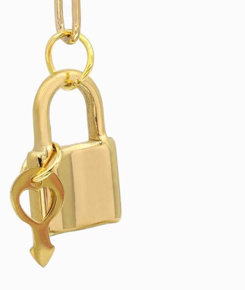 Y-Kette Gold mit Schloss und Schlüssel Anhäger nah ViLou