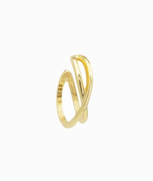 Ear cuff gold 925er sterling silber hochwertig cross kreuzung ohrklemme jpg