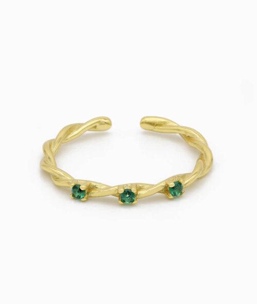 Ring 925er sterling silber größenverstellbar one size ring verstellbar gold grün zirkonia nah