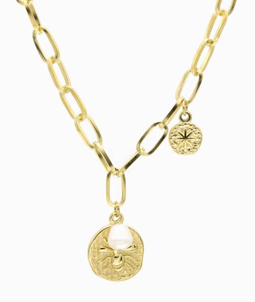 Kette große Glieder mit Coin Anhänger und Perle ViLou Ketten Layering Trend