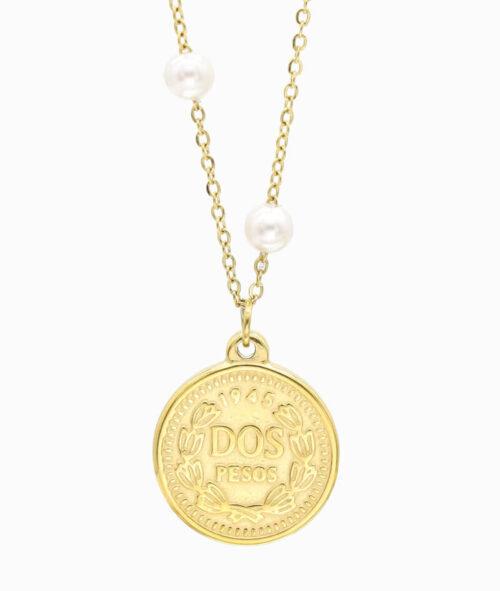 Ketten Layering Trend Coin Pesos vergoldet Perle süßwasserperle Vilou