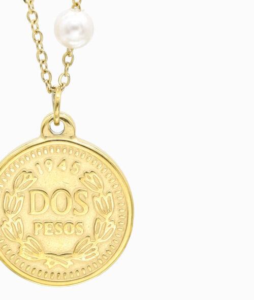 Ketten Layering Trend Coin Pesos vergoldet Perle süßwasserperle Vilou nah