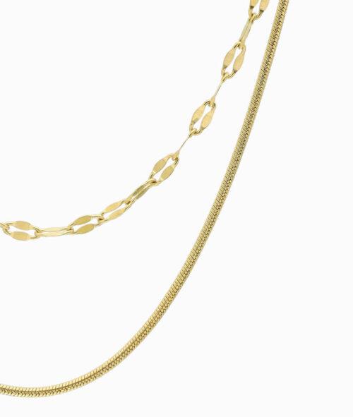 multistrang halskette gold schlangenmuster und kaffeebohnen kette vilou