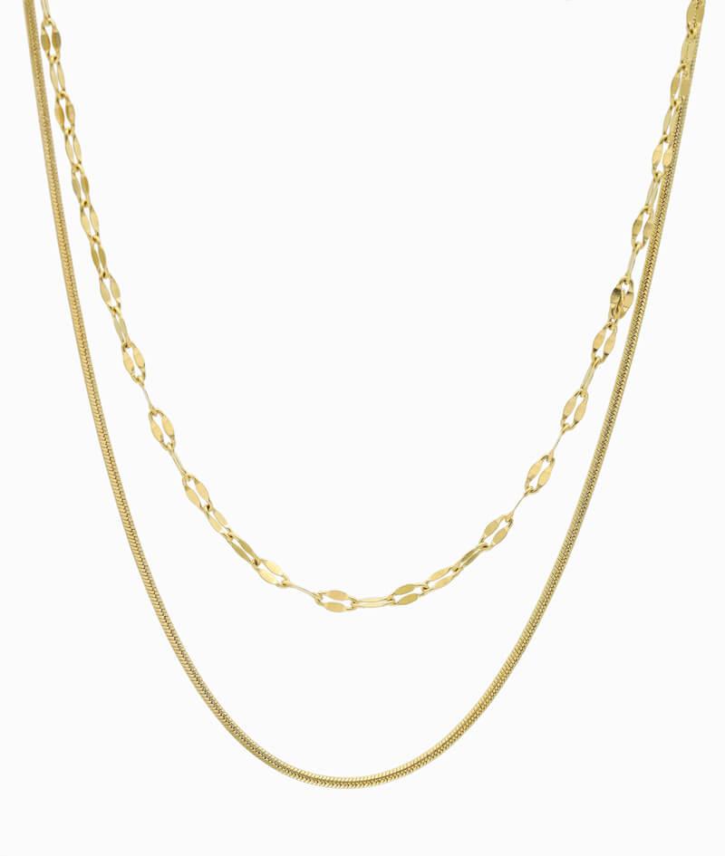 multistrang halskette gold schlangenmuster und kaffeebohnen kette vilou kettenlayering