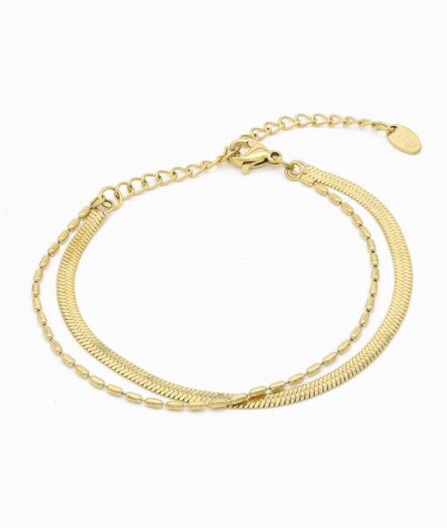 Armkette gold ViLou Doppel Armketten Layerig