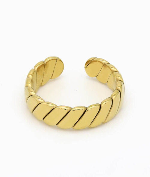 Verdrehter ring gold vintage band croissant geschenkidee freundin vilou schmuck