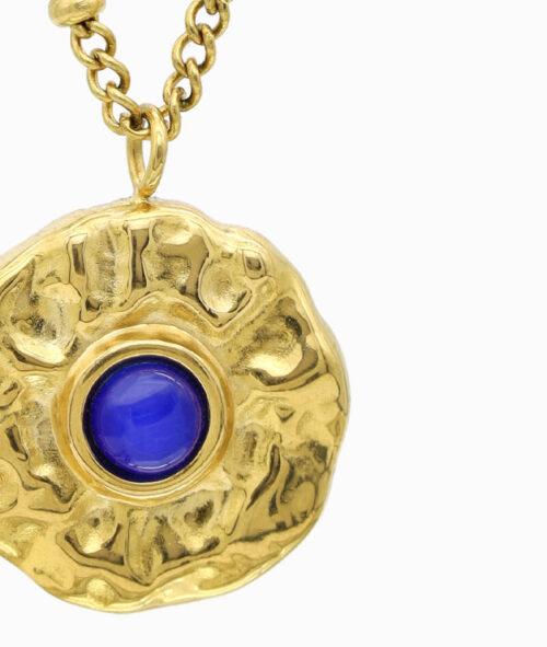gold Kette mit blauem Edelstein Katzenauge geschenkidee freundin frau vilou schmuck