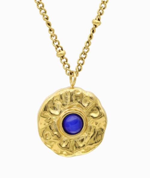 gold Kette mit blauem Edelstein Katzenauge geschenkidee freundin frau vilou schmuck jahrestag