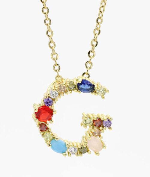 Buchstaben Kette Gold mit bunten Steinen ViLou. Geschenkidee Freundin Frau persönlich Schmuck