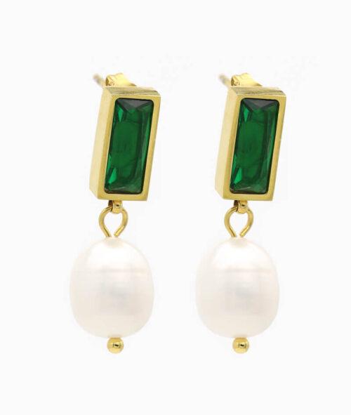 ohrring mit grünem stein und perle vilou schmuck geschenkidee
